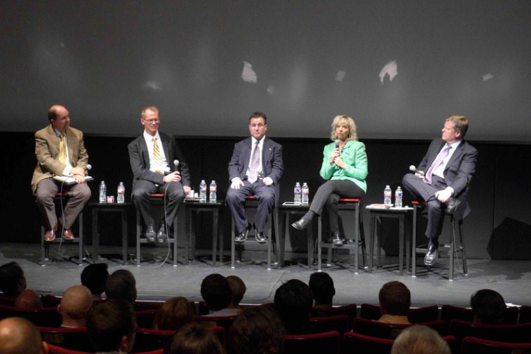 Speakers at a conservative green energy panel held at the Paramount Theater in Austin.