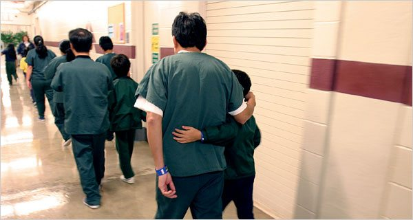 Families in the hall at the notorious T. Don Hutto family detention center