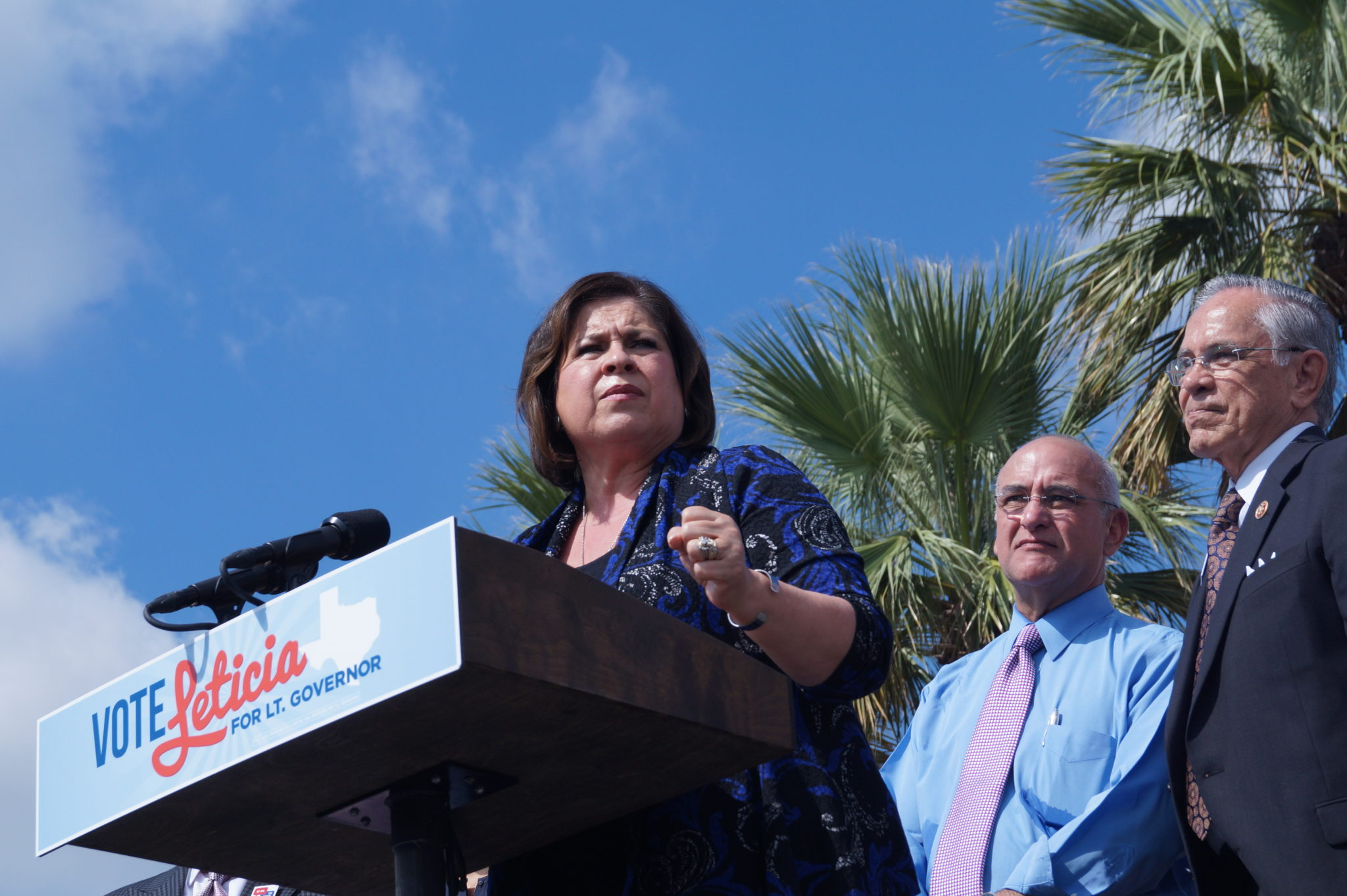Leticia Van de Putte addresses a crowd of students at the University of Texas-Pan American, October 23, 2014.