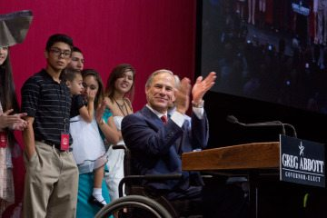 Greg Abbott and his family at election night victory party