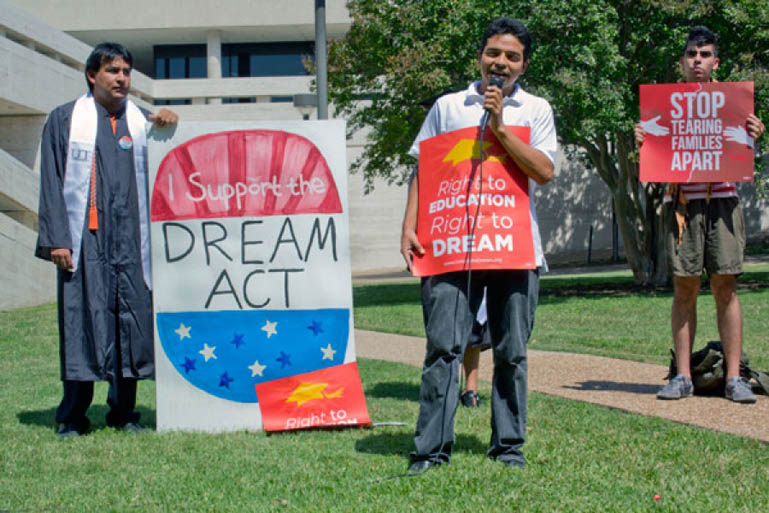 Daniel Candelaria, Loren Campos at an UT Austin rally to pass the Dream Act, June 2012.