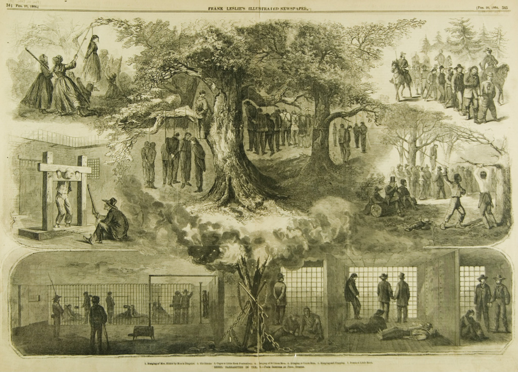 Two years after the incident, news of the Great Hanging made its way east. This depiction, from the Feb. 20, 1864, issue of <i></noscript>Frank Leslie's Illustrated Weekly Newspaper</i>, is apocryphal—the victims were actually hanged one or two at a time.