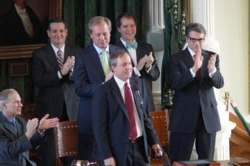 Ken Paxton, after being sworn in, stands among Texas GOP VIP's: From left to right, Governor-elect Greg Abbott, Senator Ted Cruz, Lt. Gov. David Dewhurst, Justice Don Willett, and Governor Rick Perry.