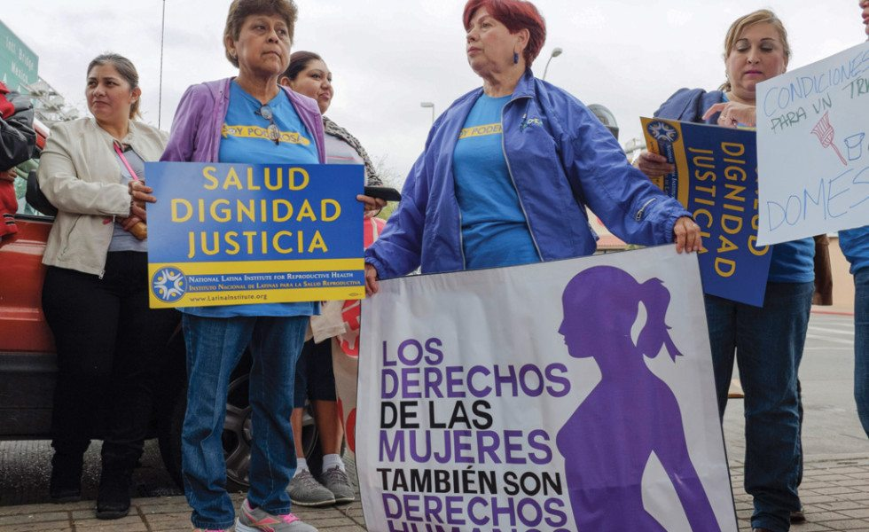Women, families and students gathered near the Gateway International Bridge in Brownsville in early March to celebrate International Women's Day. A march and rally highlighted women's access to health care in the Rio Grande Valley.