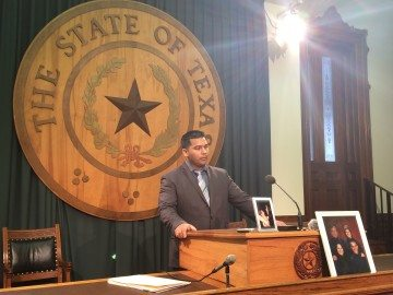 Erick Muñoz, husband of Marlise Muñoz, addresses reporters at the Texas Capitol in March.