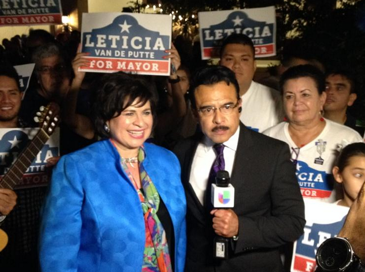 Leticia Van de Putte conducts a post-election interview with Univision after her victory speech.