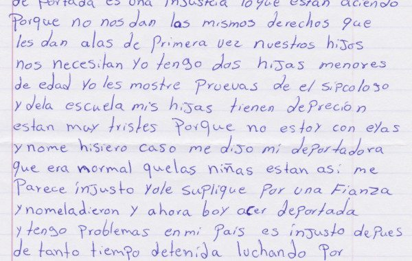"""A handwritten letter from """"E.,"""" a woman on hunger strike inside the T. Don Hutto detention facility."""