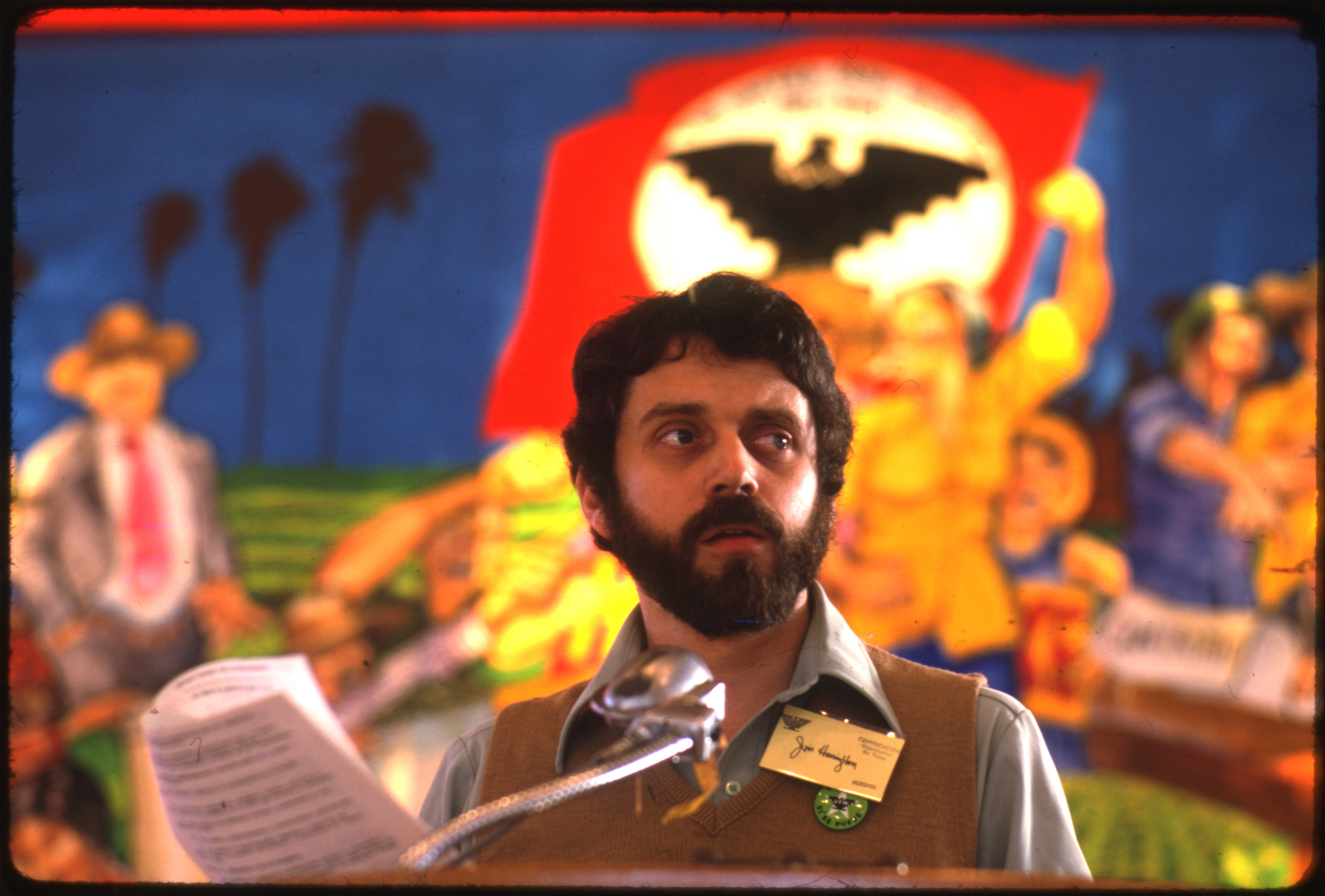 Jim Harrington photographed in 1979 in San Juan at the first Texas United Farm Workers convention.