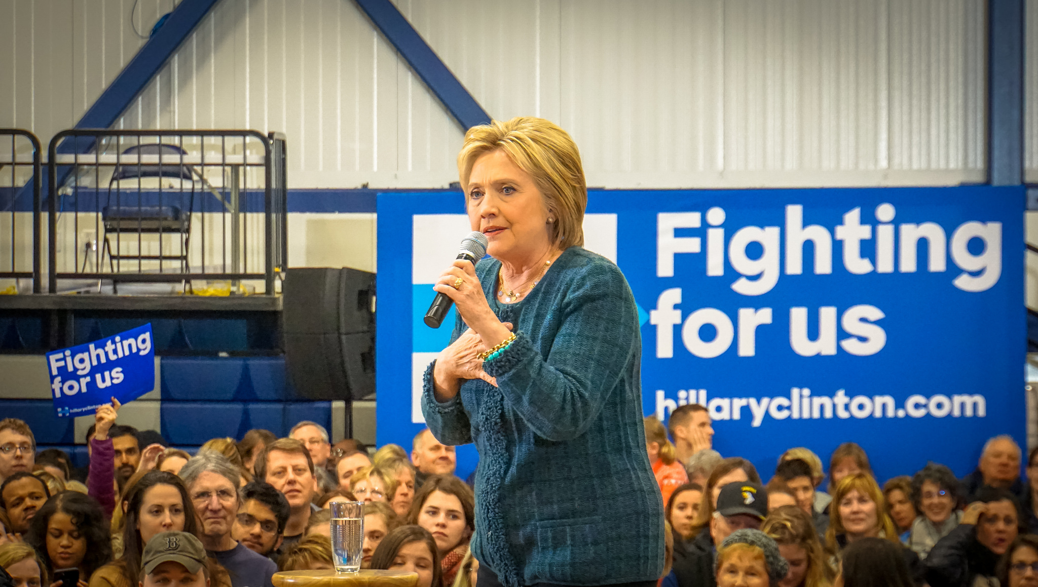 Hillary Clinton campaigns in New Hampshire in February as part of her bid to win the Democratic presidential nomination.