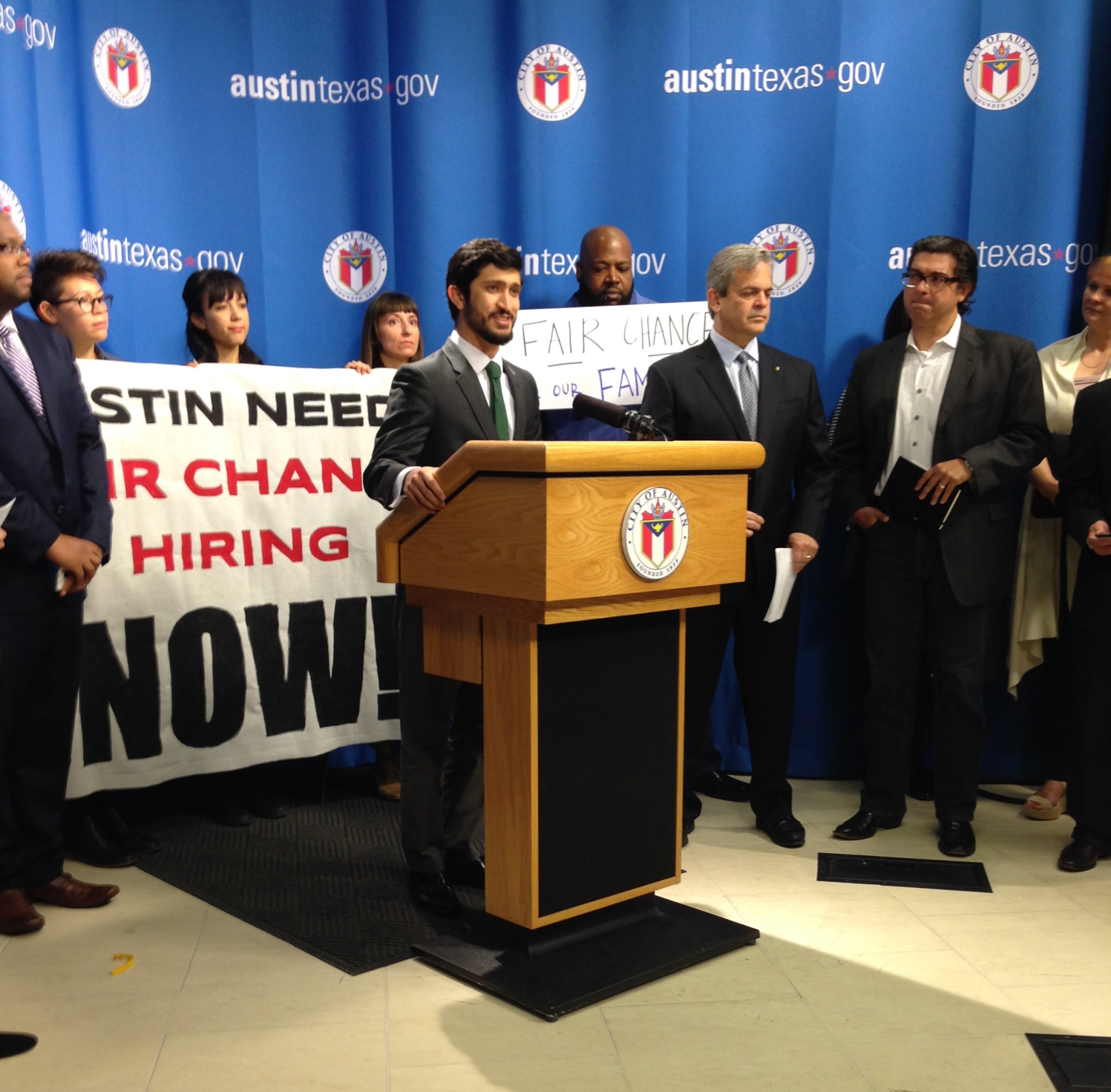 """Austin City Council member Greg Casar introduces supporters of a """"ban the box"""" ordinance for private employers at a press conference Tuesday, in advance of the council's vote on Thursday."""