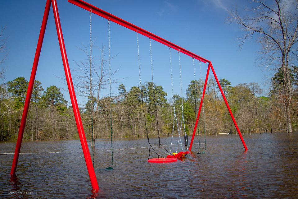 Flooding in Uncertain, Texas on Caddo Lake in March 2016.