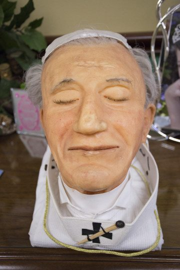 The sculpture of Pope John Paul II that helped Genevieve Keeney land a job at the National Museum of Funeral History.