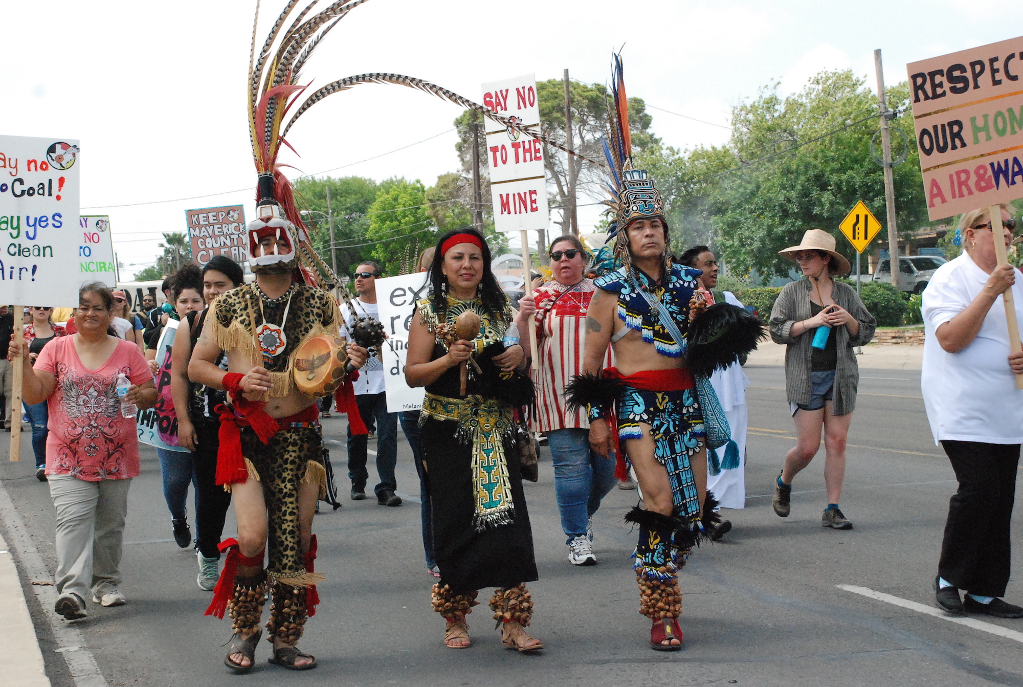 Native Texans march against the Dos Republicas Coal Partnership in Eagle Pass.
