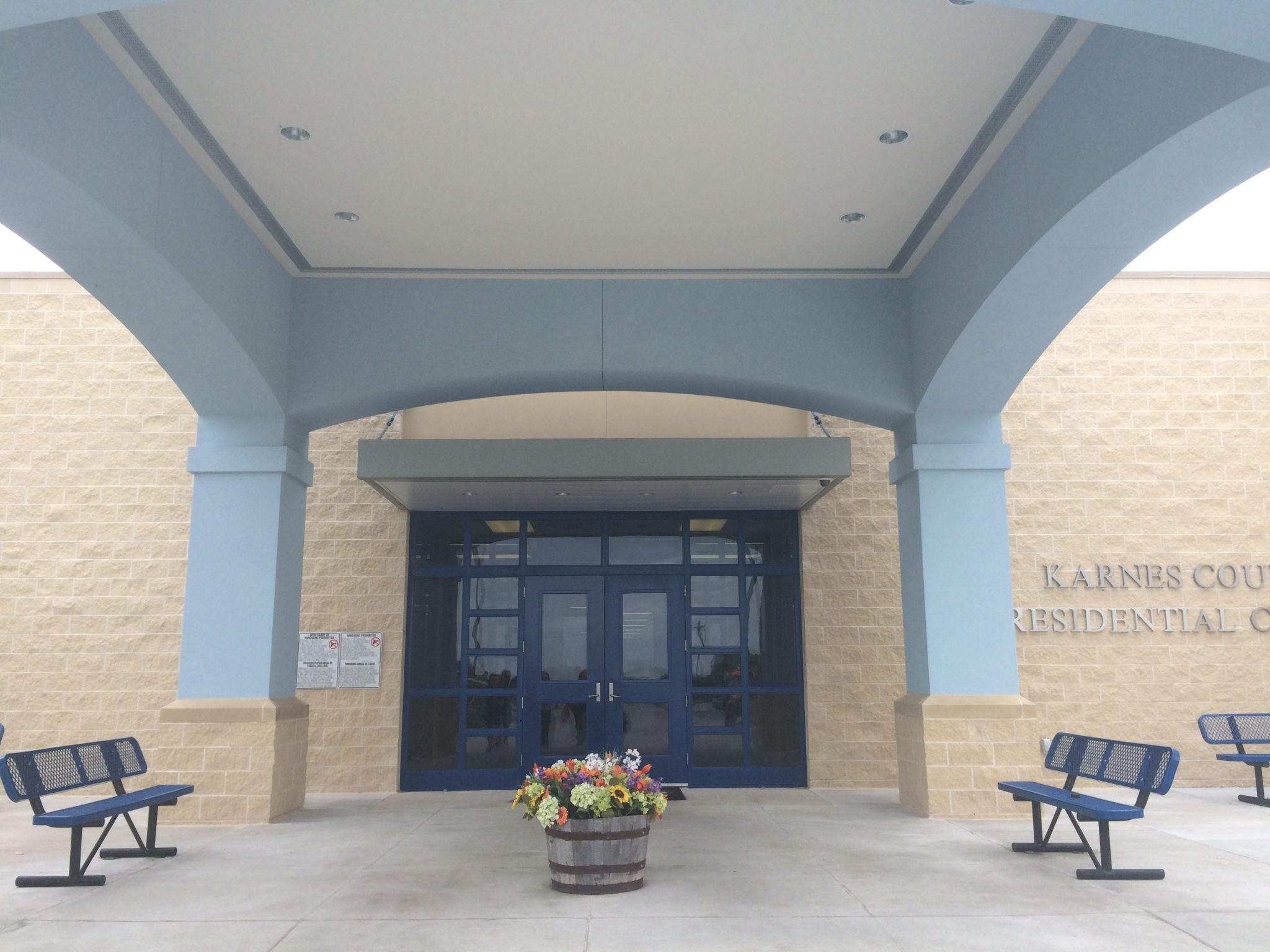 The entrance to Texas' Karnes County Residential Center, a 500-bed immigrant detention facility.