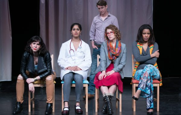 Evelyn Sphar, Shanta Parasuraman, Joshua Everett Johnson, Gisele Chípe and Tracey Conyer Lee perform real-life abortion stories in 'Remarkably Normal,' a nationally touring play about abortion stigma.