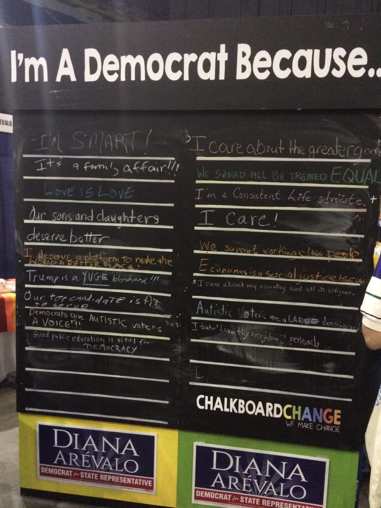 """""""I'm a Democrat because ..."""" chalkboard at the Texas Democratic Convention."""