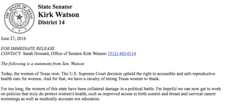 Kirk Watson statement on HB 2 SCOTUS ruling.