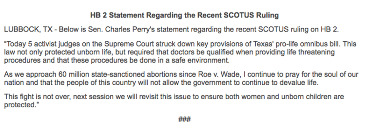 Charles Perry statement on HB 2 SCOTUS ruling.