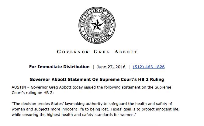 Greg Abbott statement on HB 2.