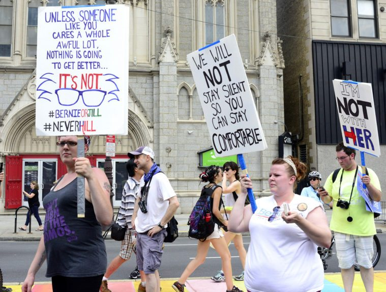Left-of-the-left protesters outside the Democratic National Convention in Philadelphia.