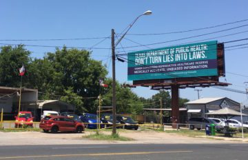 "The group behind this Austin billboard imploring the state not to write more falsehoods into a pre-abortion booklet says Reagan Outdoor Advertising wouldn't accept the word ""abortion"" in their ad."