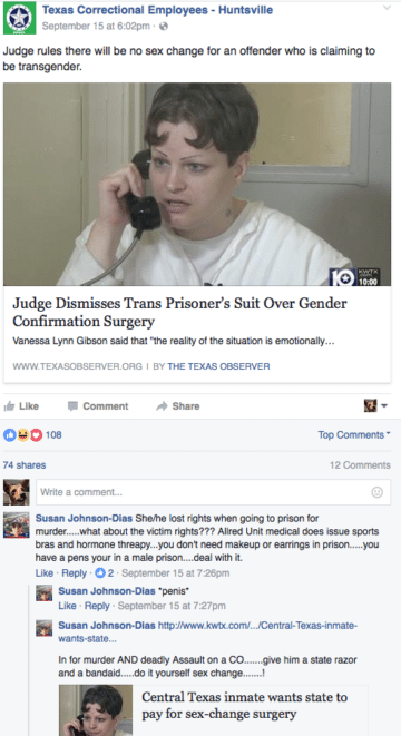 Online Posts Appear to Show TDCJ Officers Threatening Trans Prisoner