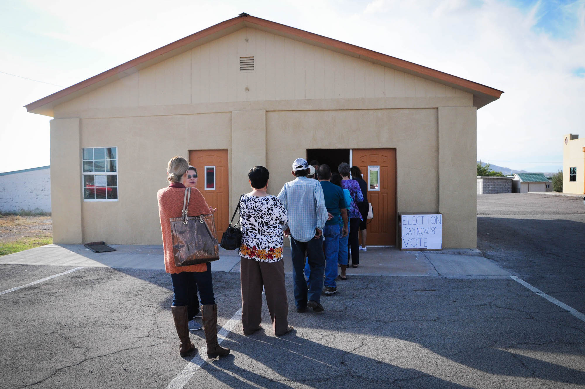 Voters queue up in Presidio County, which historically has had the lowest turnout in Texas.