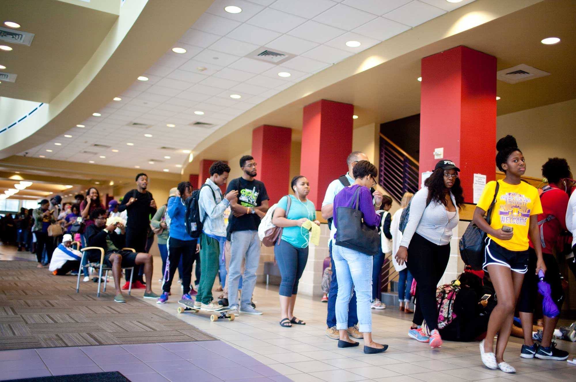 Students wait in line to vote at the Prairie View A&M University student center in 2016.