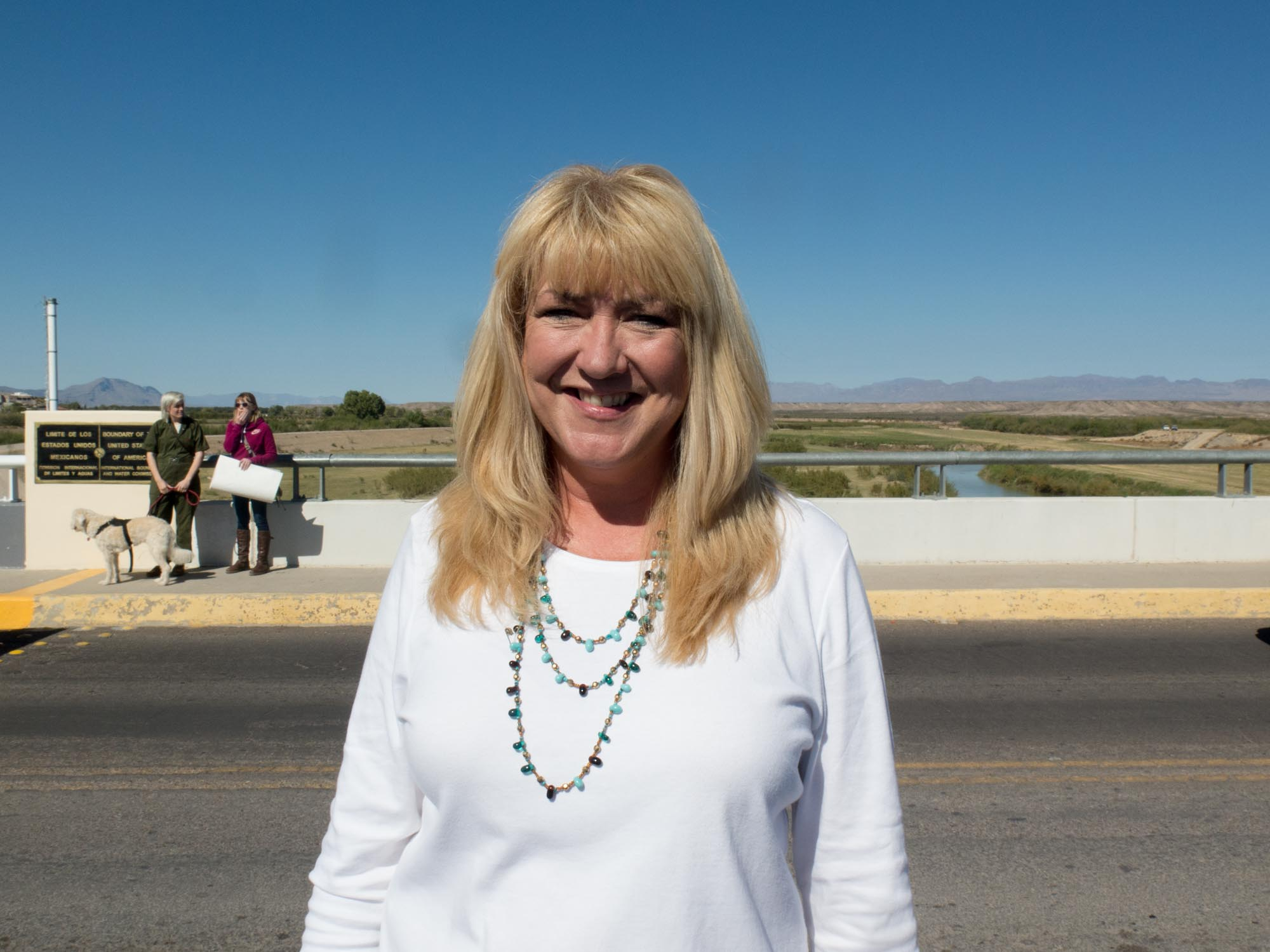 """Laurie Holman, Presidio art teacher and the solidarity walk's organizer: """"I can't change the world, but we can do some reassurance for our neighbors. We've lived in harmony and peace with Ojinaga and Mexico for hundreds and hundreds of years."""""""