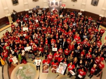 More than a hundred activists rally at the Texas Capitol in opposition to gun measures filed by Republican lawmakers.