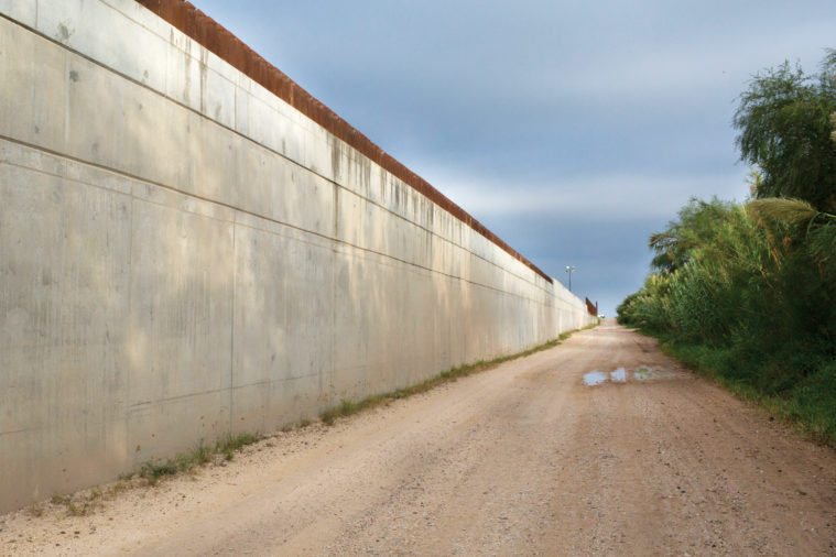 This 18-foot levee wall completed in Hidalgo County in 2009 cuts through a wildlife corridor and blocks many animals, some endangered, from accessing the Rio Grande.