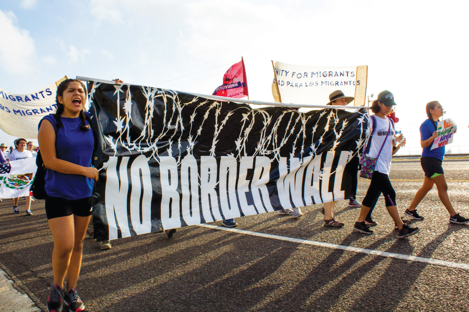Hundreds march in August 2017 against a border wall in the Rio Grande Valley.