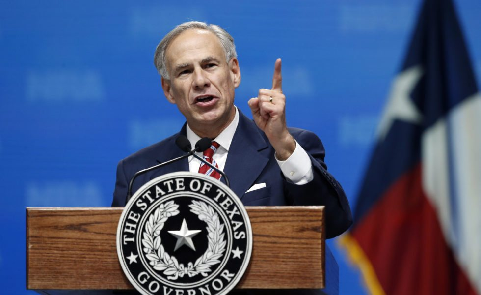 Governor Greg Abbott speaks at the NRA convention in Dallas.