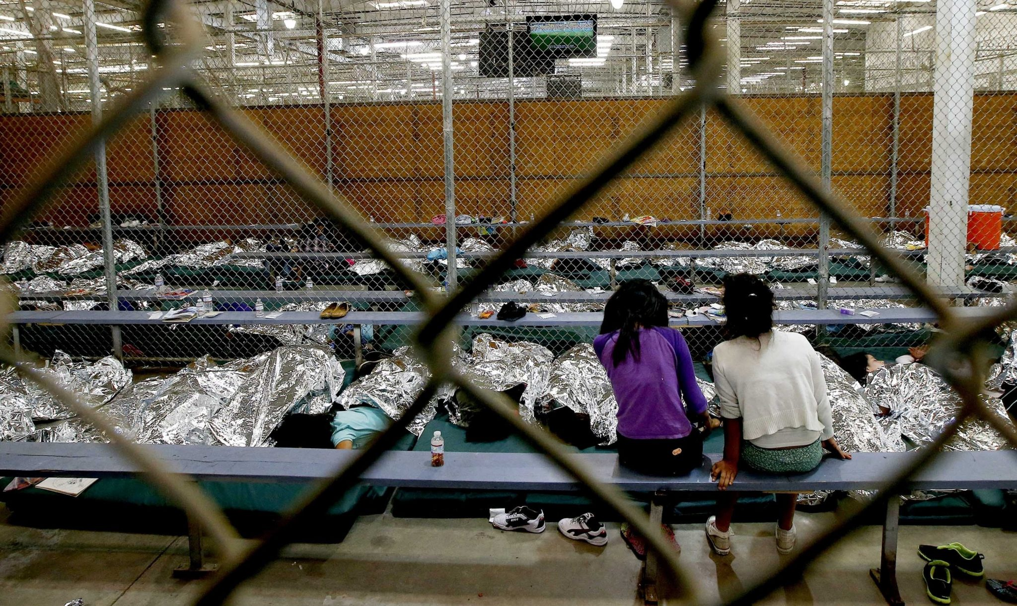 Central American children at a Border Patrol processing center in 2014.