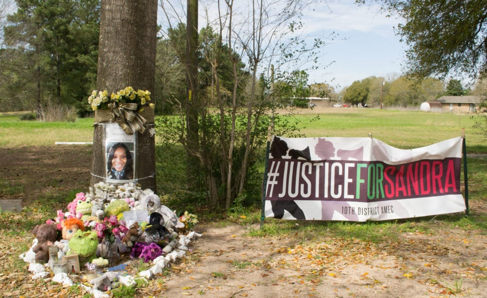 A memorial to Sandra Bland in Prairie View.