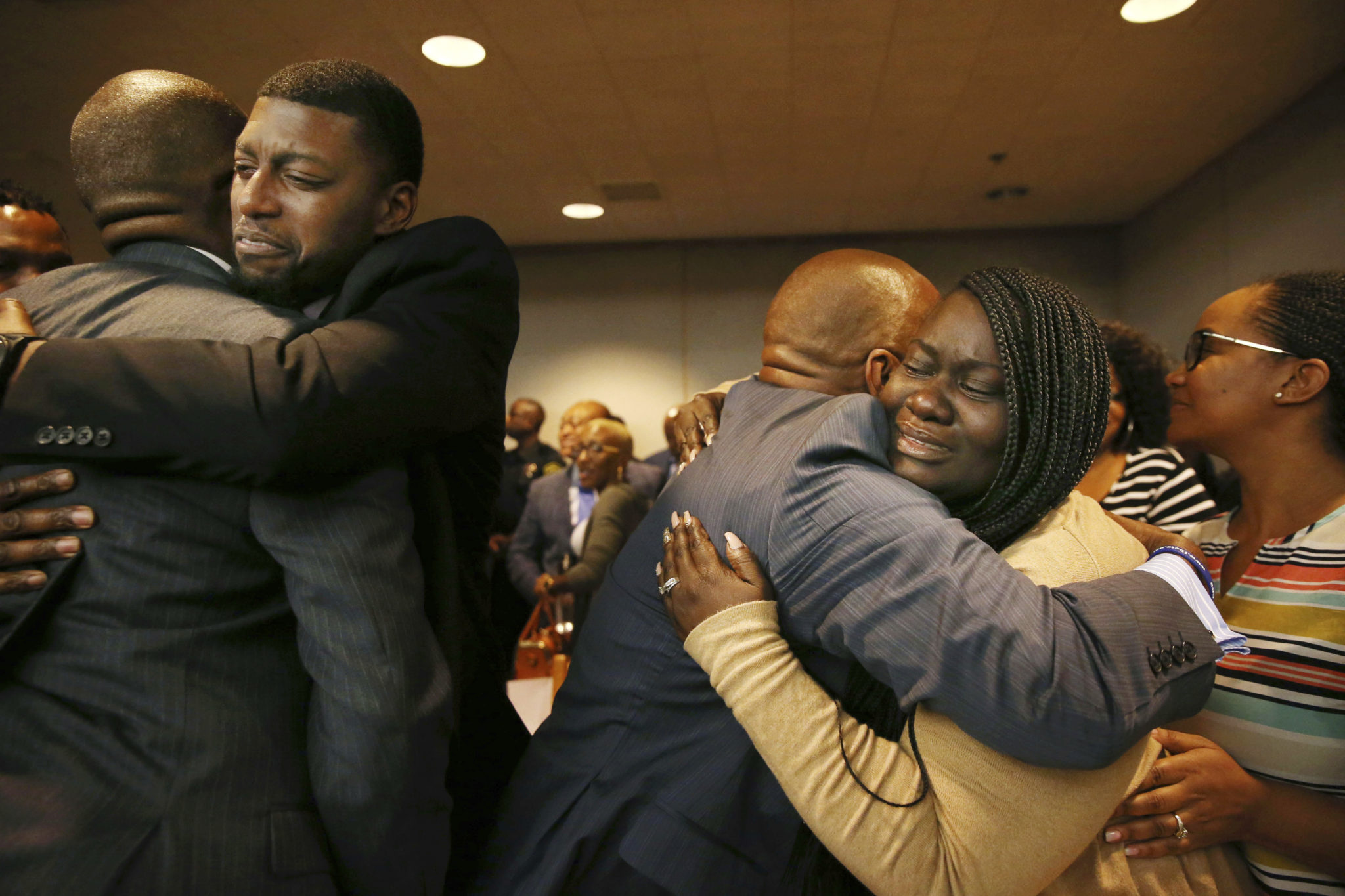 Odell Edwards and Charmaine Edwards, parents of 15-year-old Jordan Edwards, react to a guilty of murder verdict during a trial of fired Balch Springs police officer Roy Oliver.