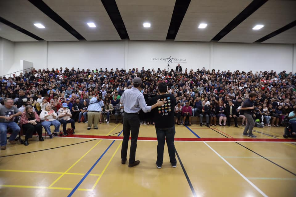 Beto O'Rourke speaks to students and faculty at Lone Star College in Houston.