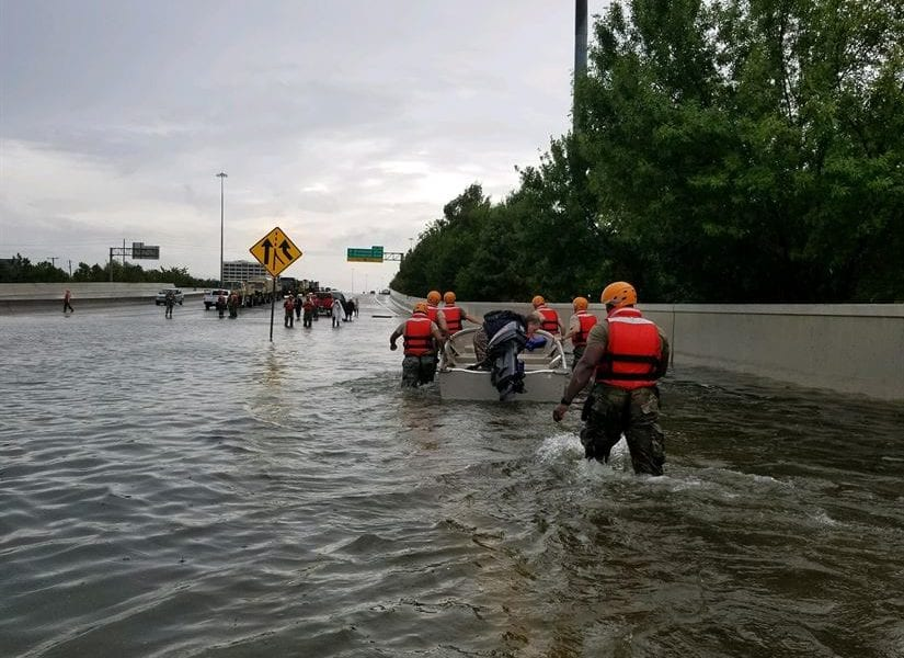 Texas National Guard soldiers arrive in heavily flooded areas after Hurricane Harvey in August 2017.
