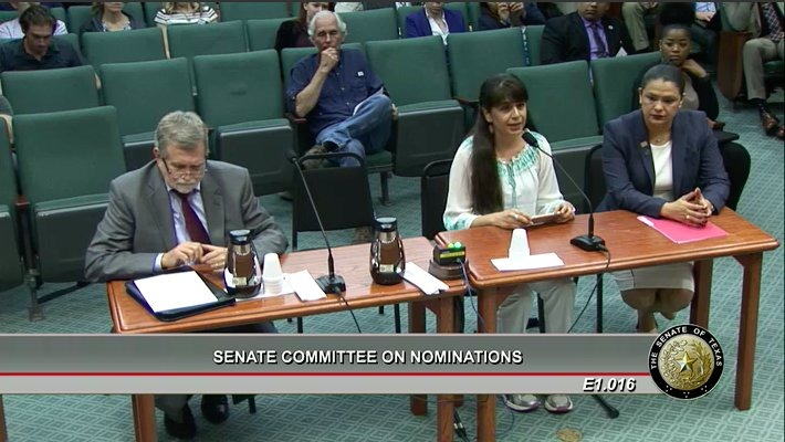 Julieta Garibay testifies against the confirmation of Secretary of State David Whitley.