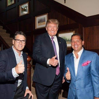Rick Perry, Donald Trump and Tony Buzbee pose for a photo at a 2016 fundraiser for Trump in Buzbee's $14 million Houston mansion.