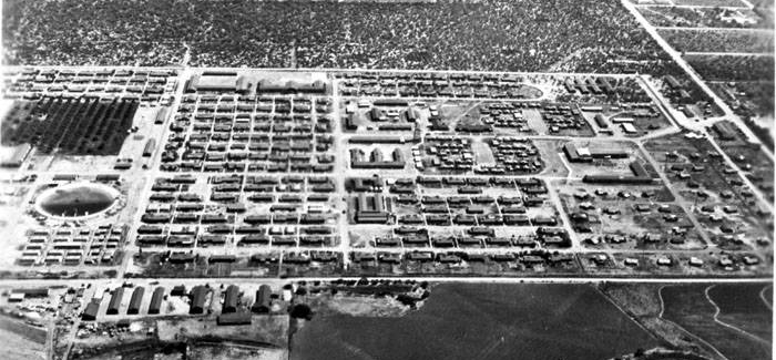 Aerial view of the Crystal City Internment Camp.