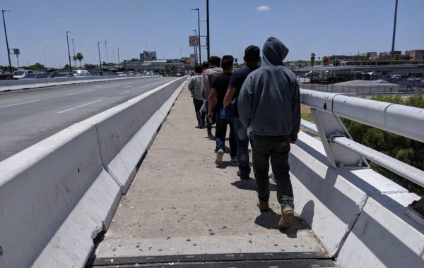 Migrants returning to Nuevo Laredo under the Migrant Protection Protocols.