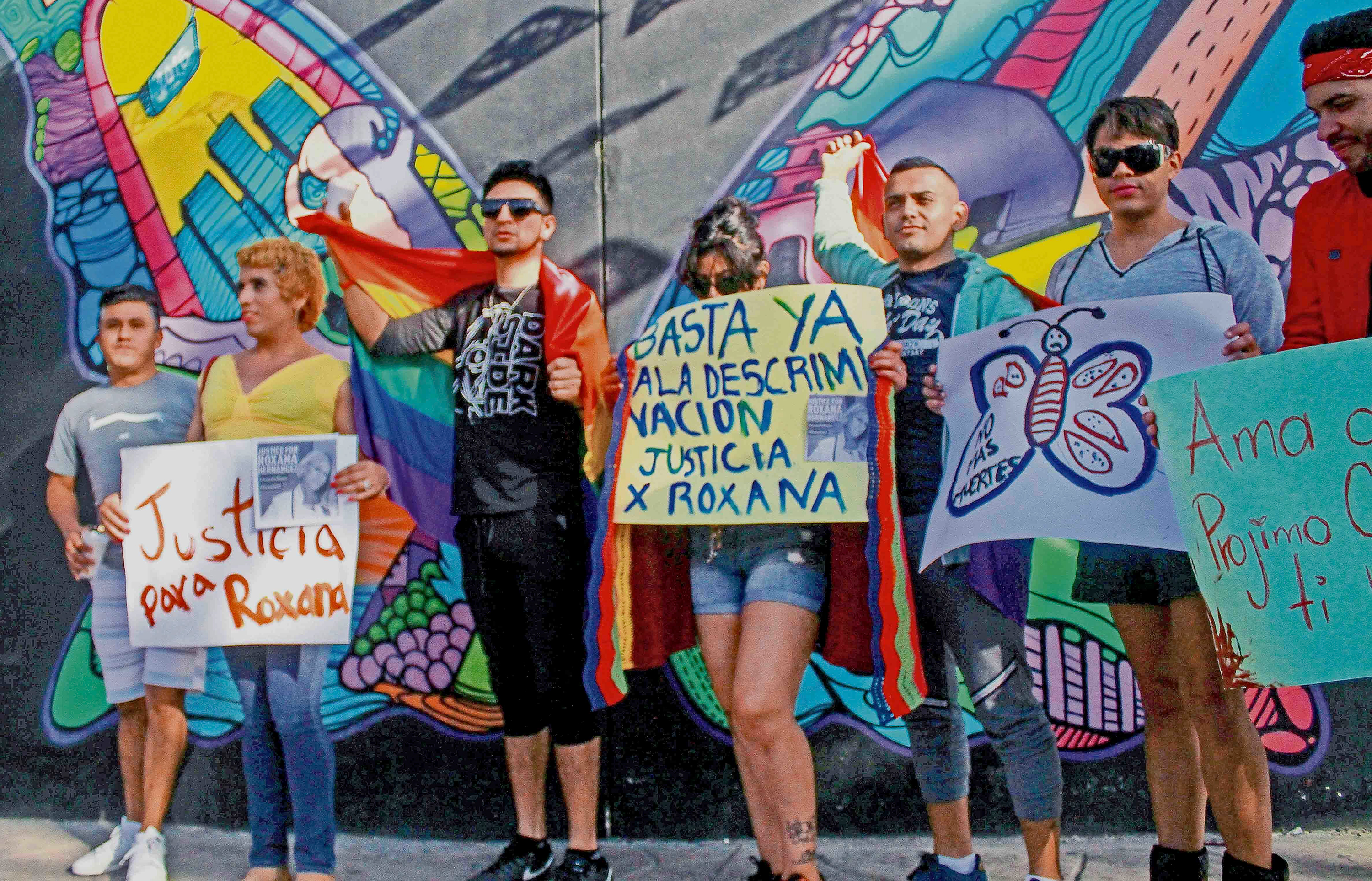 Transgender migrants and allies protest Roxsana Hernandez Rodriguez's death in an ICE facility in 2018.