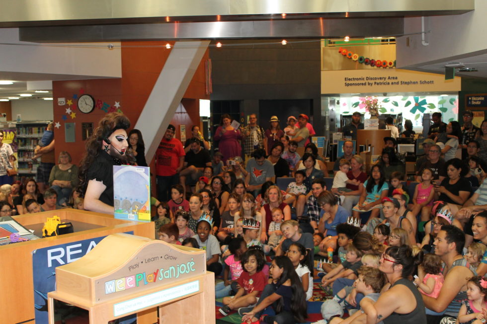 A drag queen story time event in San José, California.