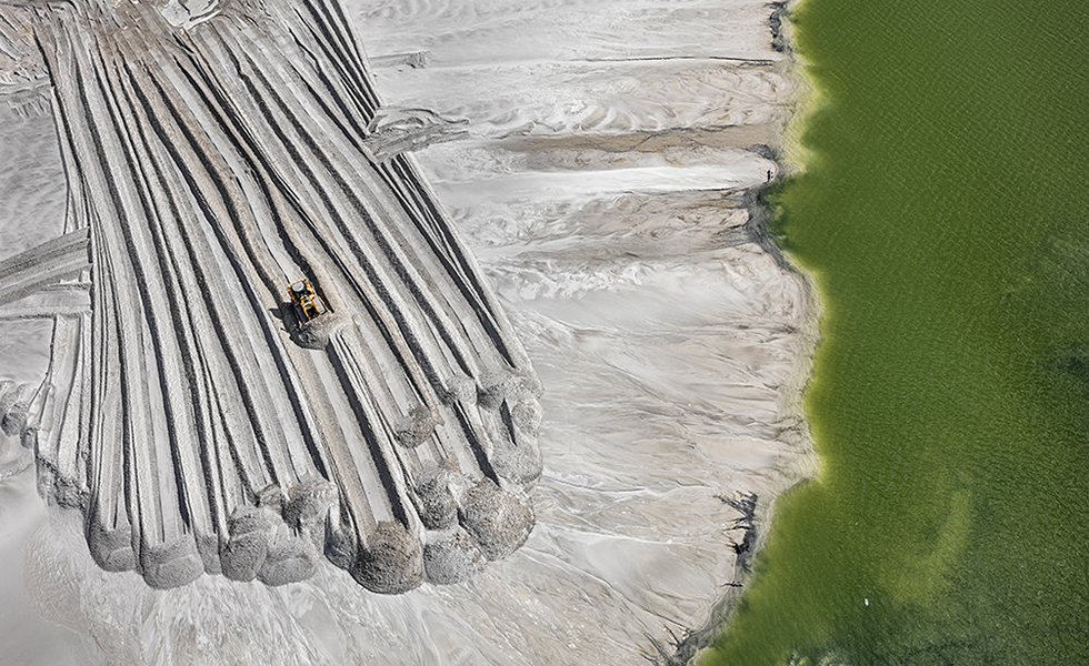 A dam for phosphor tailings—ponds that store the waste byproduct of mining—near Lakeland, Florida in 2012.