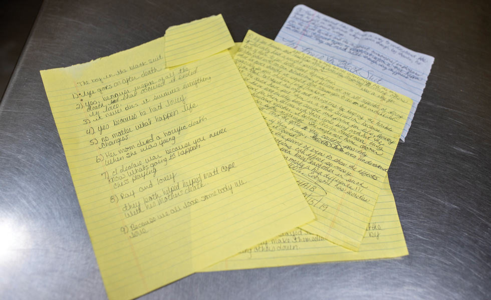 Book club members submitted thoughts and notes on The Boy in the Black Suit by Jason Reynolds.