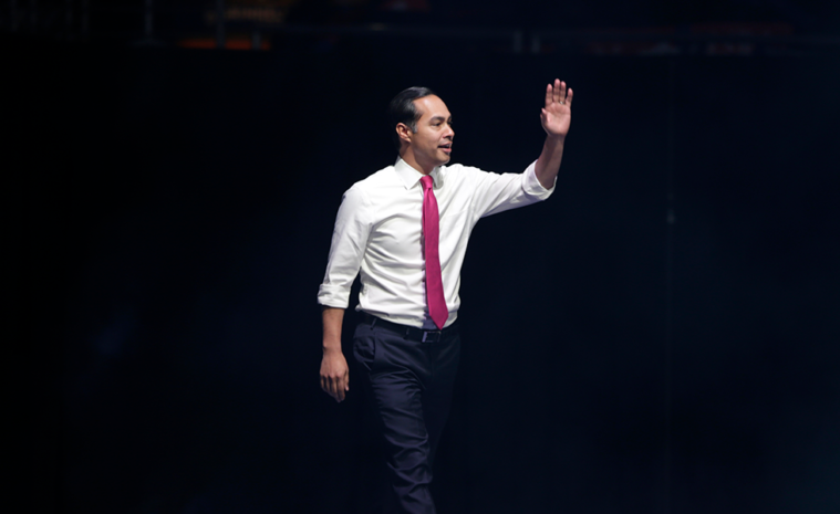 Democratic presidential candidate former U.S. Secretary of Housing and Urban Development Julian Castro arrives to speak at the Iowa Democratic Party's Liberty and Justice Celebration, Friday, Nov. 1, 2019, in Des Moines, Iowa. (AP Photo/Nati Harnik)