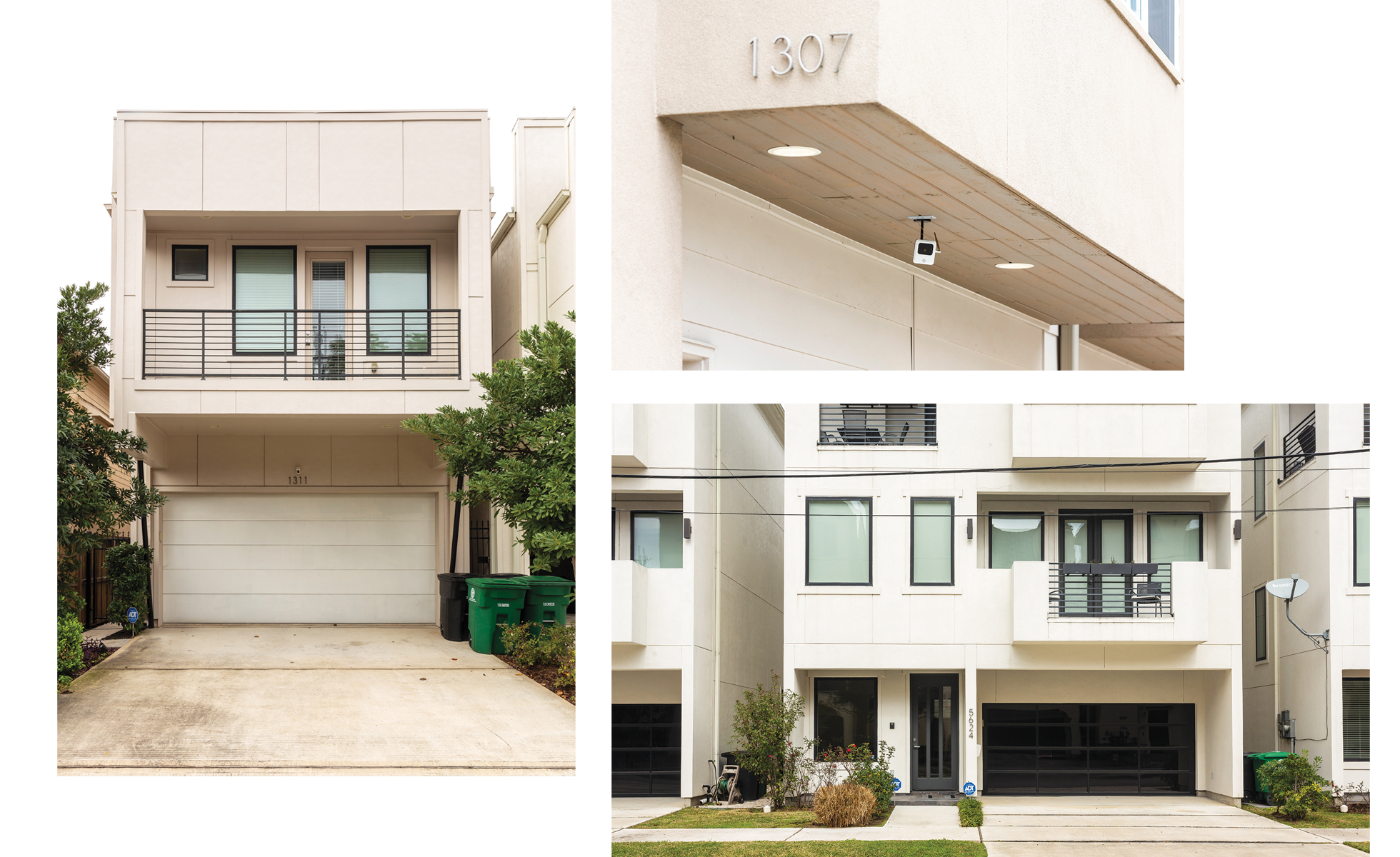 Midtown, Houston—This is a classic new Texas triptych. Balconies that aren't usable. Landscaping that is barely even decorative, let alone functional. Even some surveillance capitalism, as a treat. Maybe the saddest part is how few new Texas houses have porches, one of the features of older residential architecture that served as a gesture of welcome.