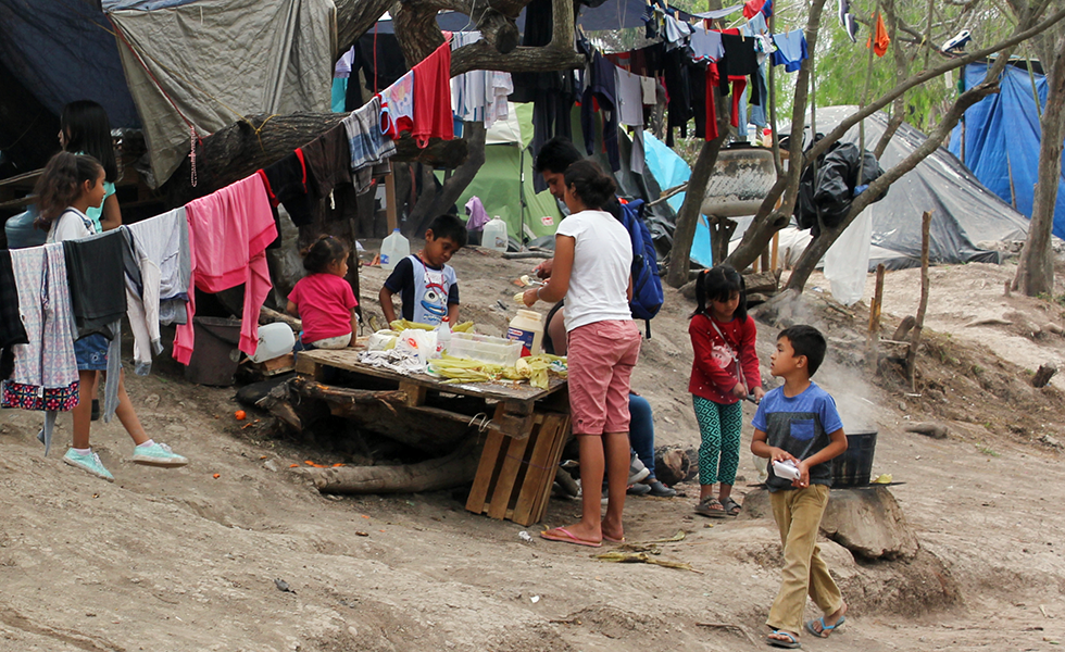 Children in a camp in Matamoros.