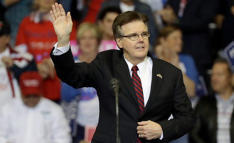 In this Oct. 22, 2018, file photo, Texas Lt. Gov. Dan Patrick speaks during a campaign rally in Houston. Patrick has been called away from his duties overseeing the opening of the state's legislative session for a meeting at the White House. Patrick headed Donald Trump's 2016 campaign in Texas and his trip to Washington comes as the president prepares to address the nation on the partial government shutdown sparked by a fight over funding for a U.S.-Mexico border wall. (AP Photo/Eric Gay, File)